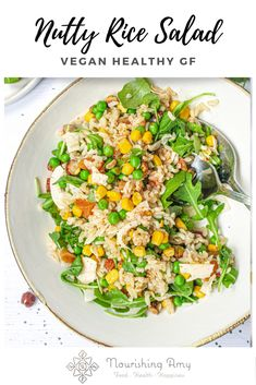 A deliciously nutty and hearty mix of brown rice with sweet juicy sweetcorn, peas and fresh rocket with chewy dried apricots, tropical coconut flakes and chopped hazelnuts and pistachios. Best Vegan Recipes, Lunch Recipes, Dinner Recipes, Healthy Recipes, Dinner Ideas, Rice Salad, Dried Apricots, Savory Snacks, Lunches And Dinners