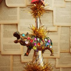 I want a hippopotamus for Christmas - A bedazzled hippopotamus tree topper because why not?!