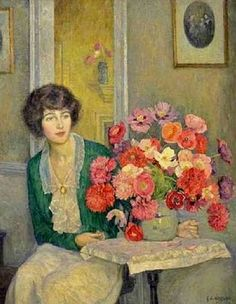 ⊰ Posing with Posies ⊱ paintings of women and flowers - George Laurence Nelson | Helen with flowers