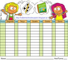 Horário Escolar para o regresso às aulas. #regressoàsaulas Planners, Family Guy, School Timetable, Crossword Puzzles, Learning Disabilities, Physical Education Activities, Book Series, Notebooks, Dads