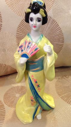 Geisha Girl Sculpture painted ceramic