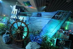 Underwater themed event - sunken ship with lighting and decor! #underwater #events #ship #wizardconnection