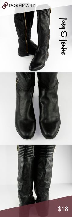 """Sam & Libby Black Boots Gold Zipper Size 9 Nice looking boots! Excellent condition with little wear. There is one small scratch on one boot (see picture 6). Material is man made material but it looks very nice. There is no box. ● Size 9 Medium. Circumference at top 17 1/2"""", Shaft 16 1/2"""",  Heel 1"""". Seems true to size. ● All man made materials .● Bundle 2 or more items for 15% off. Free shipping for orders over $100. Smoke-free home and fast shipper! Sam & Libby Shoes"""