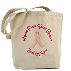 Breast Cancer Support Tote Bag    Curved stylized text around a pink ribbon for breast cancer awareness and support. Support Breast Cancer Research, Find A Cure.  $15.59