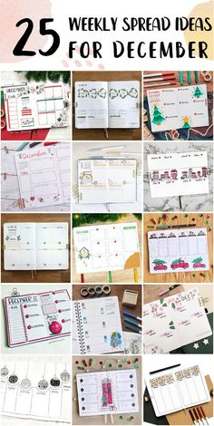 Cute Bullet Journal Weekly Spread Setup For Work - Bullet Journal Ideas Bullet Journal Weekly Spread Layout, Shooting Star Wish, Happy December, Bubble Letters, Draw On Photos, Holly Leaf, New Theme, Page Design, Journal Ideas