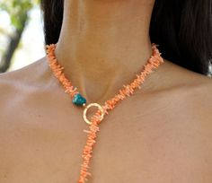 Turquoise Lariat Blue Coral Necklace Orange by GueGueCreations, $96.00