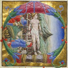 Initial letter C, depicting The Martyrdom of St.Lawrence. I (c)Victoria and Albert Museum, London