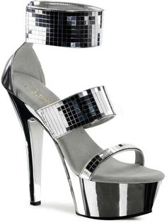 9aeb57befc637c Sexy Mirror Tile Tri Band Platform Stiletto Sandals High Heels Shoes Adult  Women