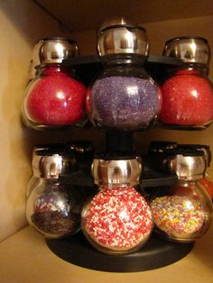 Re-purposing a spice rack for sprinkle storage. So clever!