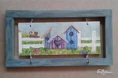 Cornice portachiavi in legno di abete. Con decorazione dipinto stile country shabby. €14+ss