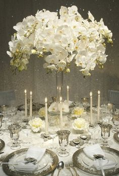 extraordinary white wedding decor ideas by Bobka Baby Winter Wedding Centerpieces, Orchid Centerpieces, Reception Decorations, Table Centerpieces, White Centerpiece, Reception Ideas, Centerpiece Ideas, Centerpiece Flowers, Table Decorations