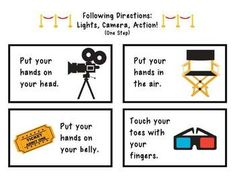 Following Directions: Lights, Camera, Action!  Low Prep activity for following directions! Great for individual or group sessions. Easy to hit multiple student's targets (ex. 1, 2, or 3 step directions).   #msjocelynspeech #auditoryprocessing #followingdirections #speechtherapy #slpeeps