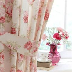 2 pcs charming country style pink flower sheer voile curtain panel pink annabella lined pencil pleat curtains mightylinksfo