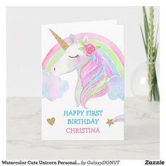 Watercolor Cute Unicorn Personalized Girl Birthday Card Unicorn Cards, Unicorn Birthday Cards, Girl Birthday Cards, Little Girl Birthday, Watercolor Birthday Cards, Watercolor Cards, Happy First Birthday, First Birthdays, Homemade Birthday Cards