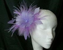 Lavender Lilac Feather Flower & Crystal Wedding Fascinator Mini Hair Comb or Band - Custom Made to Order