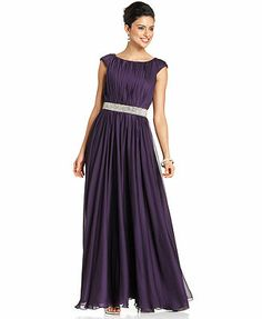 JS Collections Dress, Sleeveless Pleated Beaded A-Line Evening Gown