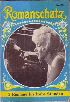 """Romanschatz - 1960, magazine from Germany. Front cover photo of Marilyn Monroe and Tony Curtis in a scene from """"Some Like It Hot"""", 1959."""