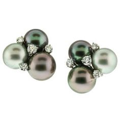 Tahitian Pearl and DIamond Cluster Ear Clips