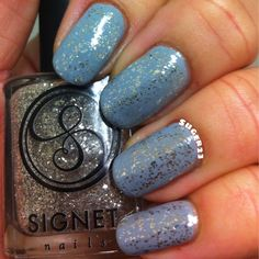 Signet Nails Belles and Whistles real silver flake topcoat over a blue base