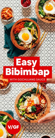 How to Make Korean Bibimbap with brown rice veggies and a fried egg! Plus a quick recipe for Gochujang sauce! Korean Bibimbap, Vegetarian Recipes, Healthy Recipes, Healthy Food, Gochujang Recipe, Bibimbap Recipe Easy, Bibimbap Sauce, Spiced Cauliflower, Korean Recipes