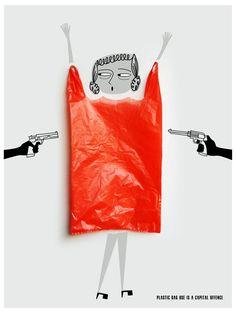 Plastic bag use is a capital offense. by Anusheela Saha, via Behance