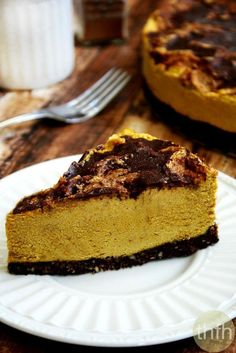 "Clean Eating Vegan No-Bake Chocolate Marbled Pumpkin Cheesecake...made with clean ingredients and it's ""almost raw"", vegan, gluten-free, dairy-free, egg-free, no-bake and contains no refined sugar 