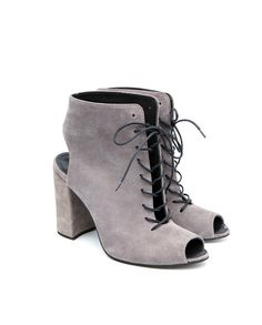 Grey Suede Peep-toe Lace-ups