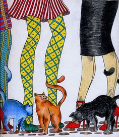 Cats and legs 2 in coloured pencil. From Mesdemoiselles Cats, Colouring for mindfulness Colouring, Coloring Books, Cat Colors, Colored Pencils, Scrapbook Pages, Illustration, Mindfulness, Legs, Animals