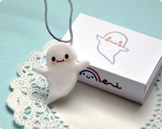 Cute Scary Ghost FIMO pendant. via Etsy.