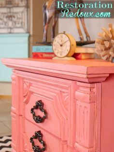 Coral Carved Vintage Painted Nightstand http://www.thegirlcreative.com/2013/11/22/vintage-nightstand-makeover.html