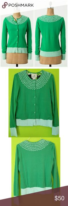 Anthropologie Crossed Hearts Cardigan Green Crossed Hearts Cardigan by Tabitha. 100% cotton shell with a beautiful flowery 100% polyester lining. Size is L but fits more like a M. Preloved,  in excellent condition. Anthropologie Sweaters Cardigans