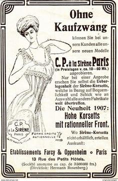 Original-Werbung/ Anzeige 1907 - SIRÈNE - KORSETT  FARCY & OPPENHEIM -  PARIS - Ca. 75 X 115 Mm - Werbung