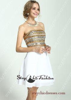 Gold Silver Rhinestone Beaded Top Strapless Short White Chiffon Cocktail Dress