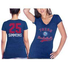 Ben Simmons Philadelphia 76ers Majestic Threads Women's Name & Number Tri-Blend V-Neck T-Shirt - Royal - $39.99