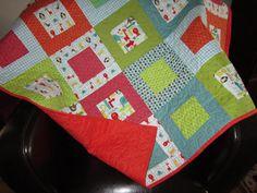 Baby Quilt Modern Boy Animal Nursery Patchwork Crib by diningout, $150.00
