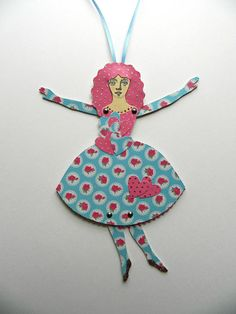 Paper Doll Paper Art Doll Jointed Paper Doll Blue and Pink
