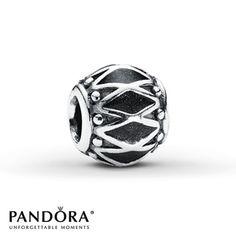 Pandora Charm Black Enamel Rhythm Sterling Silver