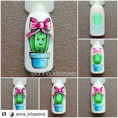 "#nailarttutorial #cactusnail - Only creative nails and story (@nails_kreativ) on Instagram: ""#Repost @anna_kitserova (@get_repost) ・・・ Кактус . Отмечаете меня на ваших работах по моим…"" Pretty Nail Art, Cool Nail Art, Uv Gel Nails, 3d Nails, Cute Acrylic Nails, Cute Nails, Spring Nails, Summer Nails, Nail Art Fleur"