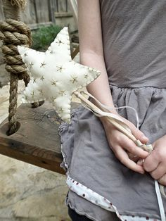Flower Girl Basket Alternative - One Felt Star Flower Girl Wand (with embroidered stars and beads) on Etsy, $28.00
