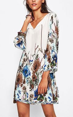 Botanical Print Tasseled Tie Neck Dress