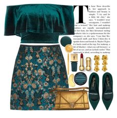 """Teal and gold"" by seventeene ❤ liked on Polyvore featuring River Island, Alex Monroe, Yves Saint Laurent, MAC Cosmetics, Deborah Lippmann, Oribe and Too Faced Cosmetics"