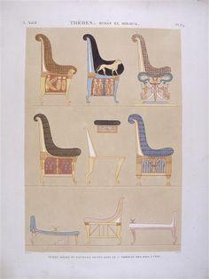 Divers sièges et fauteuils peints dans le 5e tombeau des rois à l'Est ; Antiquités, vol. II - Thèbes, Bybân El Molouk ; planche 89 Réunion des Musées Nationaux-Grand Palais -