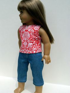 American Girl Doll Clothes   Denim Capris and by 18Boutique, $20.00