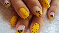 #naildesign #yellow #bow #cute #nails