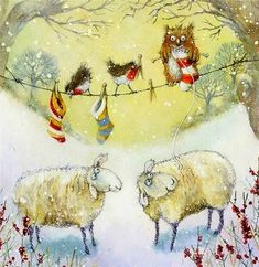 РАЗНОЦВЕТНЫЕ ДНИ - Jan Pashley watercolor  owl knitting  art knit  mouse sheep bird snow christmas card tree