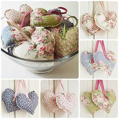 Handmade Tilda Fabric Hanging Hearts Set of Two Vintage Wedding Shabby Chic Fabric Hearts, Hanging Hearts, Buntings, Fabulous Fabrics, Nature Crafts, Handmade Decorations, Heart Shapes, Sewing Projects, Shabby Chic
