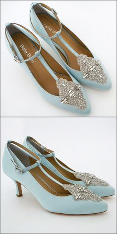 """Pale blue silk vintage wedding shoes featuring classic """"Old World Charm"""". Hand-beaded applique, """"T"""" strap and adjustable ankle strap on a 2 heel. Designed by Bella Belle. Unique Wedding Shoes, Big Wedding Rings, Cool Wedding Cakes, Wedding Bells, Pale Blue Dresses, Flats Outfit, Wedding Dresses With Flowers, Ankle Straps, Vintage Shoes"""