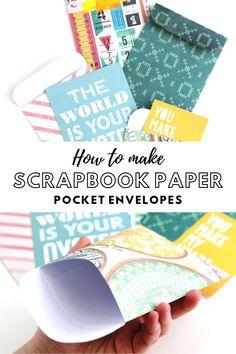 how to make scrapbook paper pocket envelopes Makeup Makeup Dupes Palette Removal Style Art Care Envelope Punch Board, Diy Envelope, Envelope Book, Envelope Templates, How To Make Scrapbook, Baby Scrapbook, Envelope Scrapbook, Pocket Envelopes, Paper Envelopes