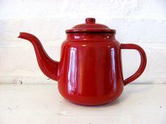 Vintage Red Enamel Coffee Tea Pot by oliveowlart on Etsy, £22.00
