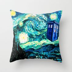 Police Box by Bohemian Bear Throw Pillow Cover / Starry Night / Doctor Who / TARDIS